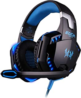 G2000 Gaming Headset, Surround Stereo Gaming Headphones with Noise Cancelling Mic, LED Light & Soft Memory Earmuffs, Works...