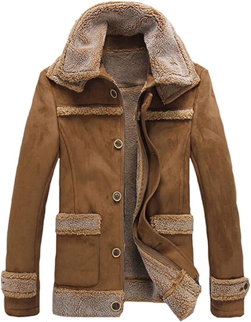 Men Woolen Outwear Faux Lamb Wool Suede Jacket Turn Collar Warm Shorts Camel Bomber Jacket Zipper Top