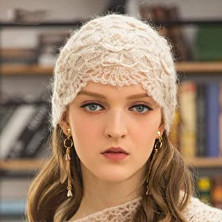 JERPOZ Ms. Knitted Hats, Hand-Woven Vintage Crochet Cap Baotou, Duolei Si Dimensional Flower Hat, Beanie Cap Hat, Casual Hat Knit French (Color : E)