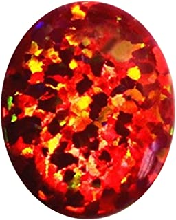 ZHUANBAI 8X10mm fire Opal Cherry Opal red Stone Loose Beads Gemstones Oval Shape Flat Base cabochon Created Gemstone for Jewelry Making DIY