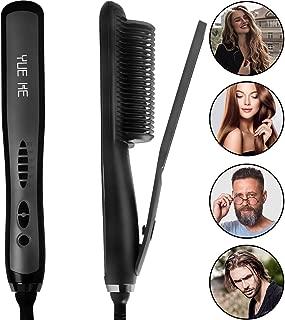 Beard Hair Straightener Ceramic Brush – Professional Iron Electric Straightening Hot Comb Heated brush Gift For Men Woman straighten Curly Mess Beard hair