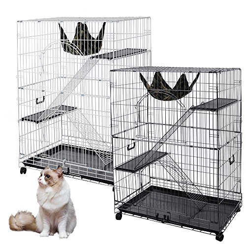 "YesHom 51""x36""x22"" Large Cat Pets Wire Cage 2 Door Playpen with Hammock 2"