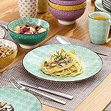 Vancasso Tafelservice Porzellan, Tulip Elegantes Geschirrset, 48 teilig Kombiservice Serie Mandala, mit Speiseteller, Dessertteller, Müslischalen und Kaffeebecher für 12 Personen - 4