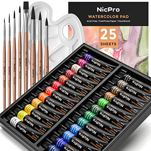Nicpro Watercolor Paint Kit, Professional Painting Set 24 Tube Water Color Paints, 8 Synthetic Squirrel Brushes, 25 Papers, Palette, Color Wheel for Artists, Adult