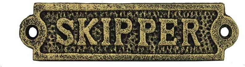 """Hampton Nautical  Cast Iron Skipper Sign Metal Wall Plaque, 6"""", Antique Gold"""
