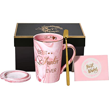 Aunt Gifts from Niece and Nephew - Best Auntie Ever Mug Funny Birthday Presents for Aunty - Pink Marble Ceramic Coffee Cup 14 Oz