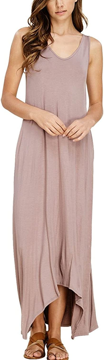 TOPABLE Womens Summer Soft Fabric V Neck Sleeveless Long Maxi Dress with Side Pockets
