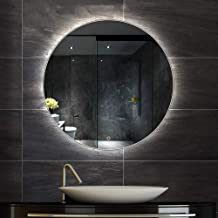 Bathroom Mirror Led Illuminated Round Lighted Vanity Makeup Wall Mounted Lights Cosmetic with Touch Switch Demister Pad