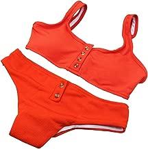 DLTEREN Women's Swimsuit Two Piece Strappy Bikini Swimwear Ribbed Wrap Bikini Top
