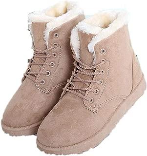 Snow Boots Women Heels Boots Lace Up Flock Women Ankle Boots Fur Plush Insole Shoes