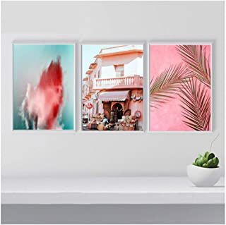 Modern decorations 3 Piece Pink Architecture Posters and Prints Flower Wall Art Palm Print Canvas Painting Wall Pictures F...
