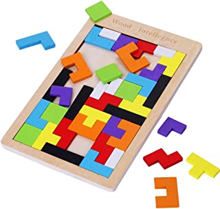 Wooden Tetris Puzzle 40Pcs Colorful Tangram Brain Block Intelligence Puzzle for Preschool Children Playing by Subay