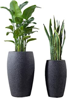 Tall Planters 2 Pack Cylinder Flower Pots, 16'' & 22'' with Drainage Indoor Outdoor