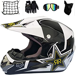 MTCTK Adulto Rockstar Motocross Casco Regalos Gafas m/áscara Guantes Moto Carreras Casco Cara Completa para el Hombre y la Mujer