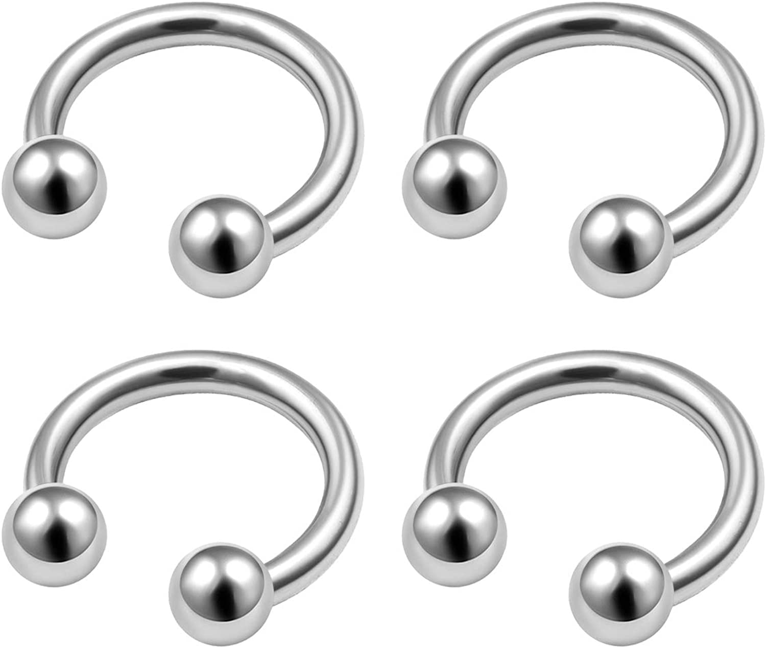 MATIGA 4Pcs Surgical Steel 16 Gauge Horseshoe Septum Ring Piercing Jewelry Daith Rook Helix Cartilage Eyebrow 3mm Ball More Choices