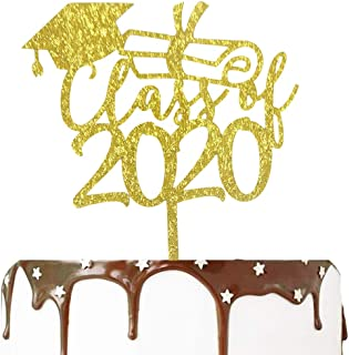 2020 Congrats Grad Cake Topper - Class of 2020 Gold Graduate Party Decorations Supplies - High School Graduation, College Graduate Cake Topper�