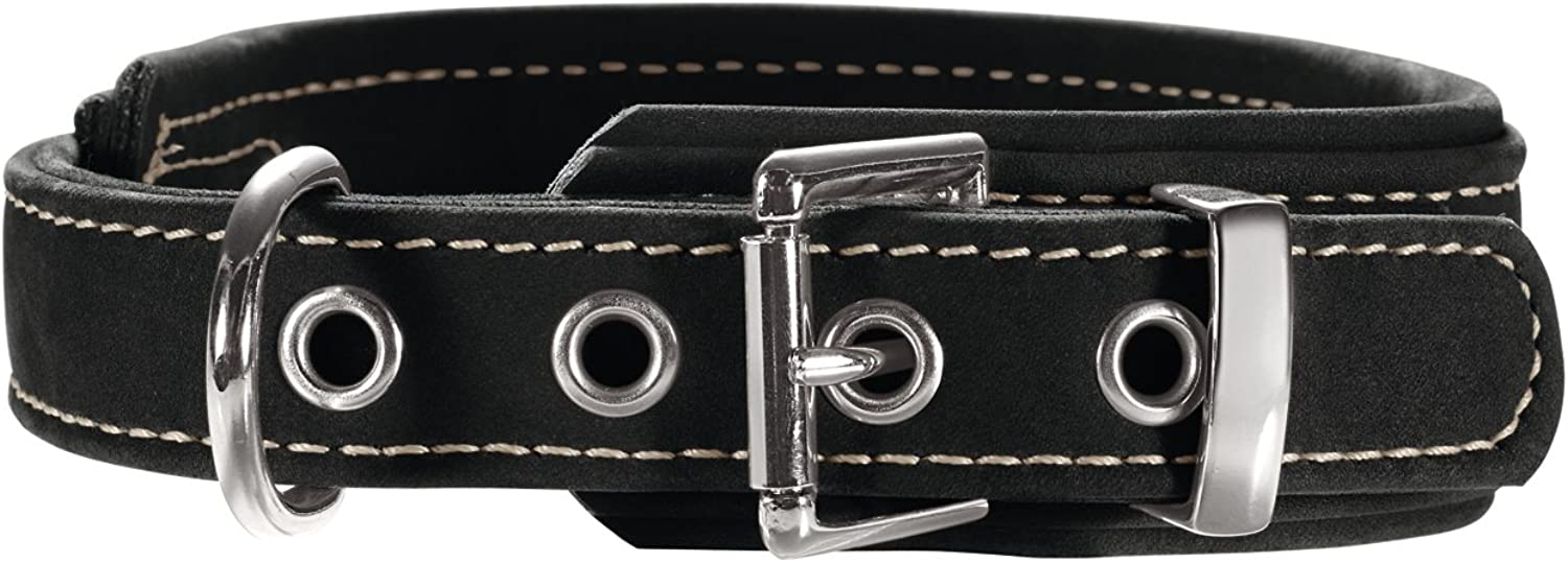 Hunter Dog Collar Hunting Comfort Made from NubukLeather,50, Black