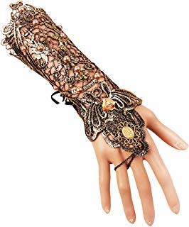 Ez-sofei Women's Retro Flapper Dress Gloves Hollowed Out Lace Fingerless Bracelet