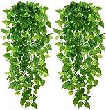 Karoro - Juego de 2 plantas artificiales colgantes de hiedra con hojas de vid falsas, para la pared de casa, el jardín, la cocina, una boda o decoración exterior, color verde intenso