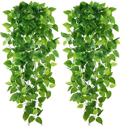 Karoro 2-Pack de plantas falsas artificiales colgantes plantas hiedra hojas falsas verdes para decoración de interiores y exteriores de la cocina