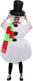 Qshine Christmas Inflatable Snowman Cosplay Costume Party Fancy Dress Blow Up Body Suit Jumpsuit Adult and Child