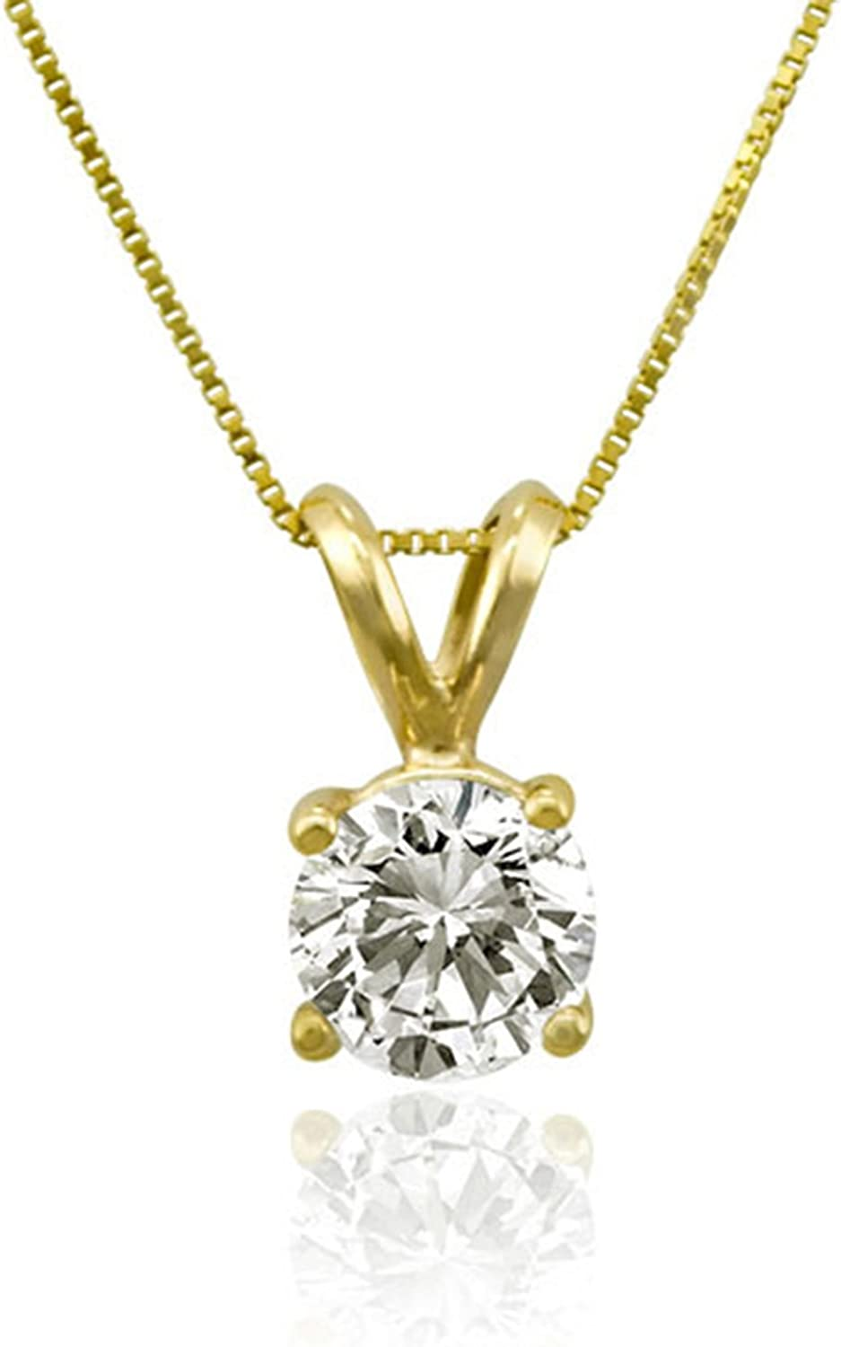 Clara Pucci 2.70 CT Brilliant Round Cut Conflict-Free VVS1 Ideal Gemstone Simulated Diamond Solid 14k Yellow Gold Solitaire Pendant Box Necklace 16