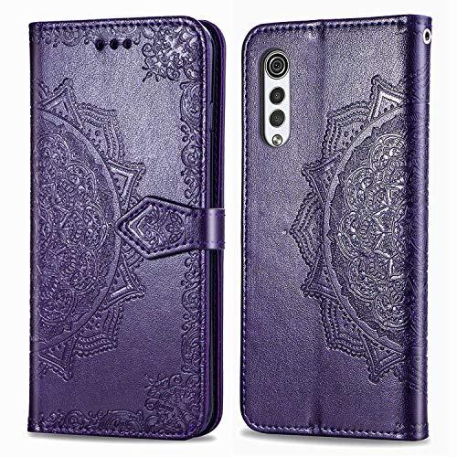 Bear Village Hülle für LG Velvet 5G, PU Lederhülle Handyhülle für LG Velvet 5G, Brieftasche Kratzfestes Magnet Handytasche mit Kartenfach, Violett