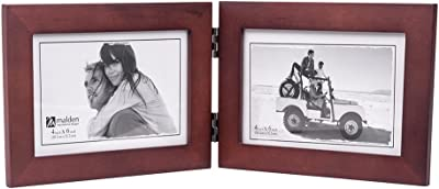 Malden Double Horizontal 4x6 Picture Frame - Wide Real Wood Molding, Real Glass - Dark