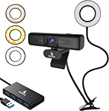 1080P Zoomable 2K Webcam with 2ft USB Hub Switch, Microphone, 3.5 Inch Selfie Ring Light, Mount Stand, and Privacy Cover, ...