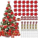Wanxida Ornamento di Albero di Natale, 115 PCS Decorazione di Albero di Natale con Fiori di Natale Artificiali Glitterati Fiocchi Campana Fiocchi Neve Piccole Stampelle Clip per Decorazioni Natalizie