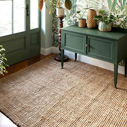 Natural Jute Fiber Rug Soft Medium Strength Woven Durable Entrance Hallway Dinning Room Floor Mat 120cm x 170cm