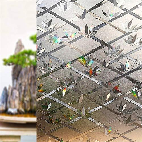 JIUYUE stickers voor ramen gemaakt van melkglas, hoge kwaliteit, vinyl, 30 x 200 cm, decoratieve stickers voor ramen van bamboe, statische kleur, zelfklevend