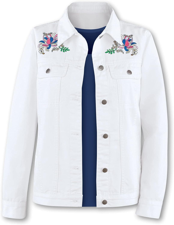 Stylish Denim Jacket with Floral Embroidery - Machine Washable
