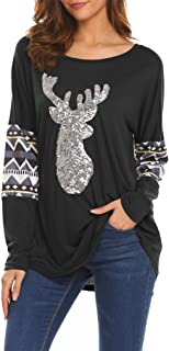 Qearal Womens Casual Long Sleeve Christmas Reindeer Sequin T Shirt Blouse Tops
