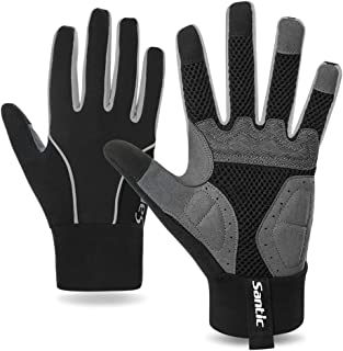 Santic Cycling Gloves Windproof Bike Bicycle Motorcycle Gloves Gel Pads Touch Screen for Women and Men