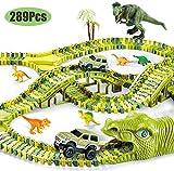 Gmsqj Kid Dinosaur Race Track Car Toy Set 289 Piezas, Costuras De Dinosaurio Juguetes De Bricolaje con 260 Pistas Flexibles, 2 Cabezas De Dinosaurio, 1 Autos, Mejor Regalo para Niños Niñas