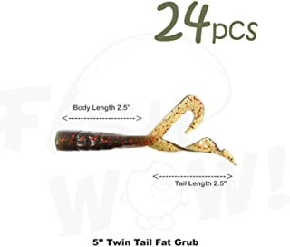 Fish WOW! 24pcs Extended Size 5 inch Twin Tail Perch Grub 4