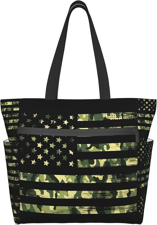 Women's Tote Bag USA Flag Camo Portable Storage HandBags Daily Working Handbag