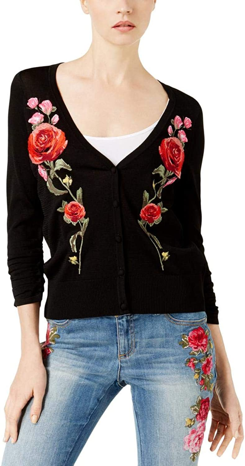 INC Womens Embroidered Cardigan Sweater