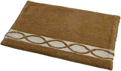 WARISI - Wave Collection - Microfiber Area, Bedroom Bathroom Rug, 34 x 21 inches (Beige Ivory)