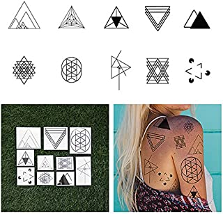 Tattify Triangle Shape Temporary Tattoos - I'd Like to See You Tri (Set of 20 Tattoos - 2 of each Style) - Individual Styles Available - Fashionable Temporary Tattoos