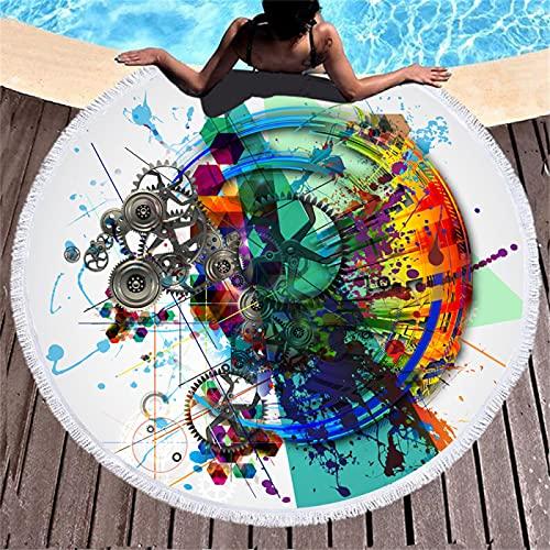 Serie De Impresión En Forma De Corazón De Toalla De Playa Redonda, Patrón De Impresión Digital, Alfombra De Playa De Microfibra, Toalla De Baño Absorbente De Secado Rápido 150 * 150cm