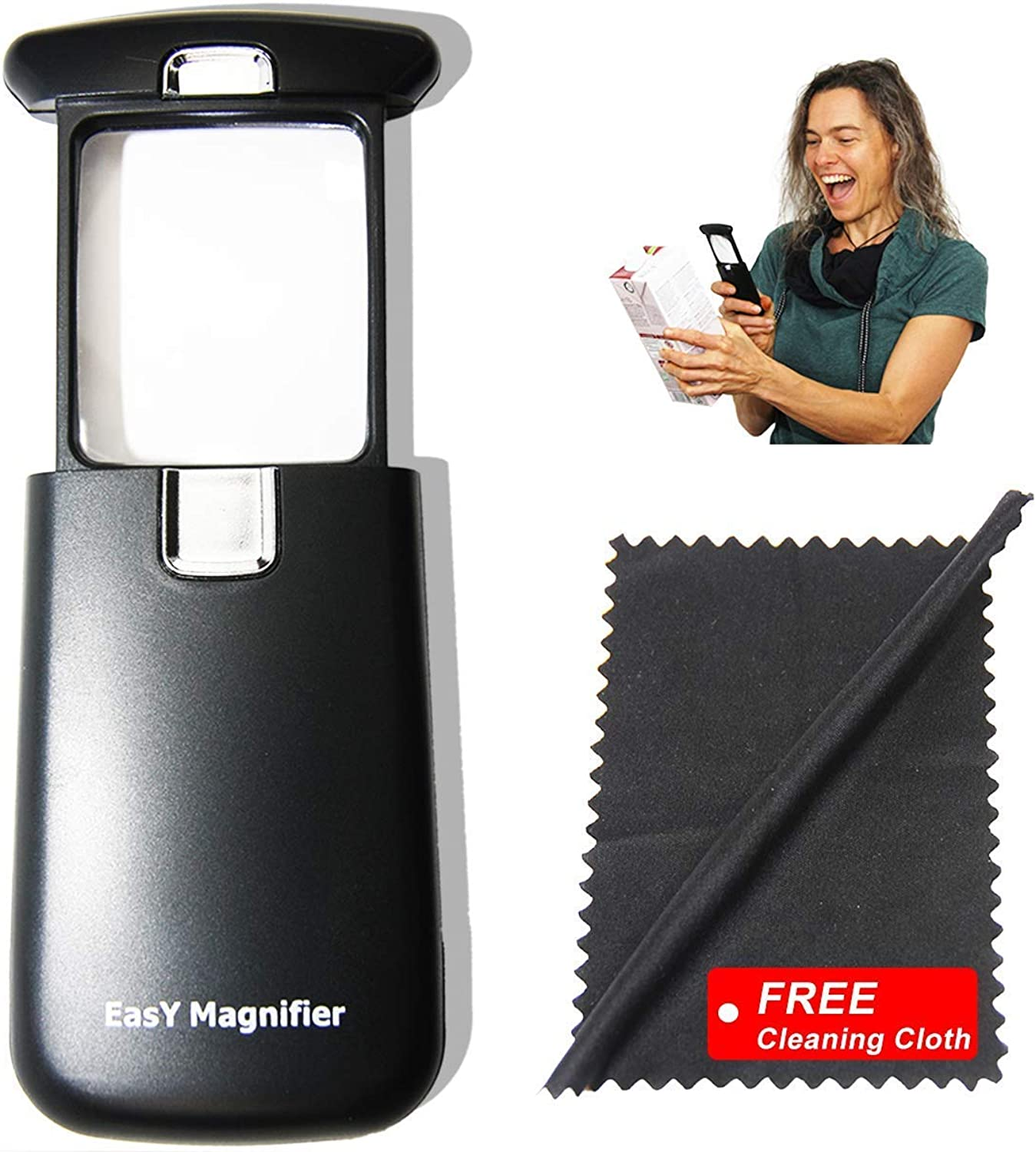 3x magnifying glass with transparent LED light; Beste small magnifying glass with predected quadrilateral acrylic lens; illuminated magnifying glass reading newspapers and books on the street; handhel