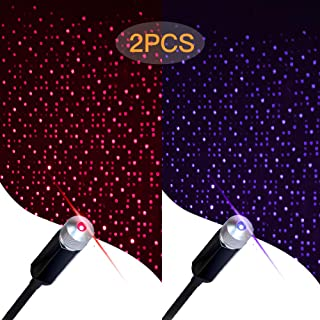 Star Projector Night Light, Romantic Auto Roof Lights, Aevdor Adjustable USB Night Light for Bedroom, Car, Party, Ceiling and More - Plug and Play, 2 Packs(1 Red Light & 1 Blue Light)
