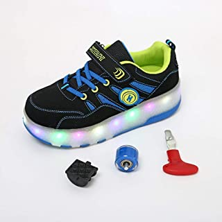 24XOmx55S99 LED Luminous Roller Skate Shoes Single Wheel Wings Pulley Shoes