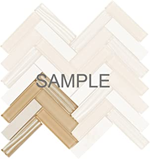 Modket TDH102MO-S Sample Cream Beige Crema Marfil Marble Stone Mosaic Tile, Wave Cold Spray Glass Blended Herringbone Pattern Backsplash