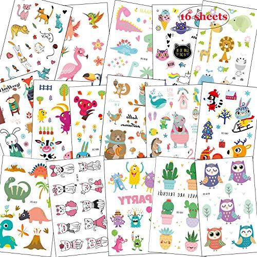 SZSMART Zoo Animales Tatuajes Temporales, Tatoos Infantiles Tatuaje Falso Pegatina de Dibujos Animados de la Selva para Niños Niñas Chicas Chicos Regalo de Cumpleaños