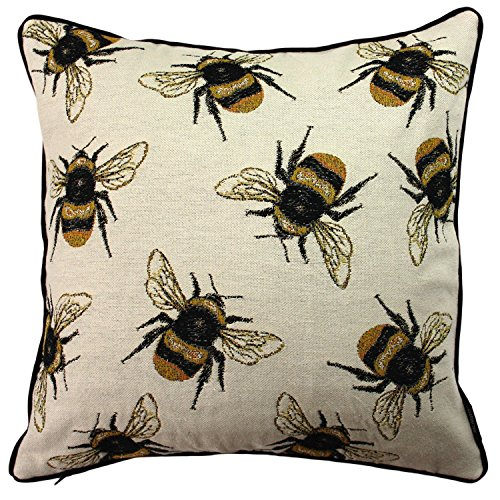 McAlister Textiles Bumblebees Bug 43cm Cushion Cover, Yellow & Black Funky Tapestry Insect Heavyweight Embroidered Elegant Throw Pillow for Bedroom Sofa Living Room, Measurement - 17 Inches