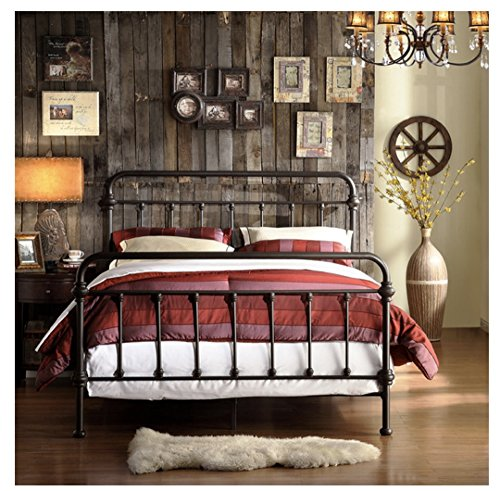 TRIBECCA home Wrought Iron Bed Frame Dark Bronze Metal Queen Size USA Vintage...