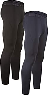 Men's 2 Pack Thermal Heat-Chain Compression Baselayer Long Johns Pants